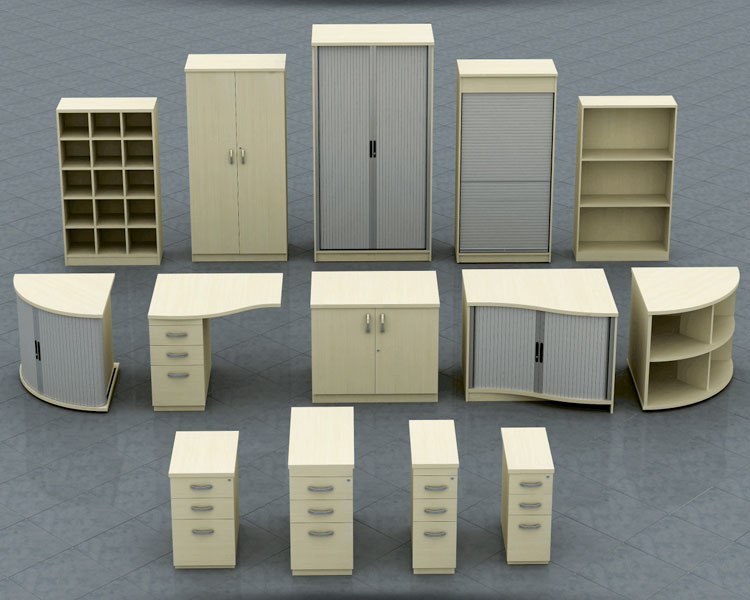 Range of free-standing storage solutions.